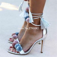 New Design Women Fashion Open Toe Puffer Ball Lace up Stiletto Heel Sandals Silver White Red Thin High Heel Sandals Dress Shoes