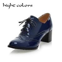 New Fashion Vintage Japanned Leather High Heels Oxford Shoes For Women Plus Size 34 43 Thick