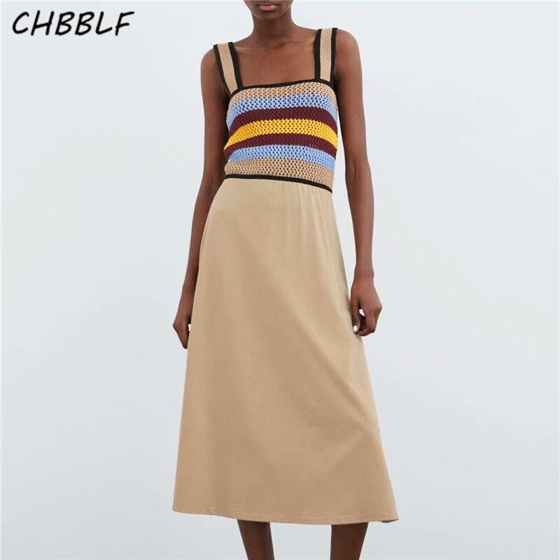 CHBBLF women knitted hollow out patchwork dress spaghetti strap sleeveless female pleated dresses vestido BGB9190