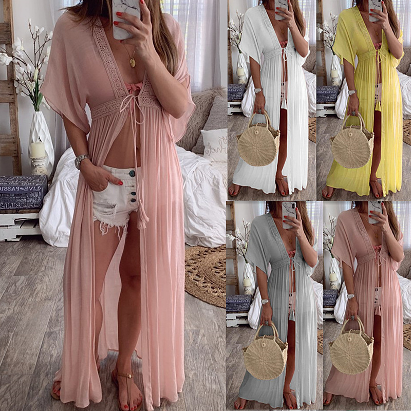 New Design Solid Torridity Dress Open Stitch Sexy Long Women Dress Drawstring   Sleeve Maxi Dress Loose Casual Beach Dress