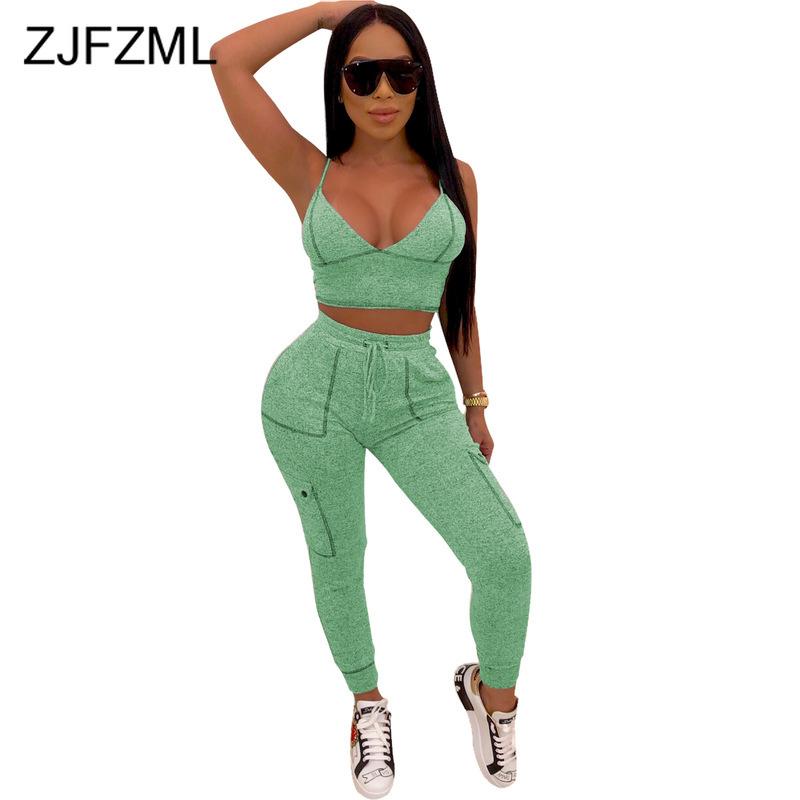 Casual Two Pieces Sets Summer Clothes For Women Spaghetti Strap Backless Crop Top And  Fitness Long Pants Suit Sexy Club Outfits