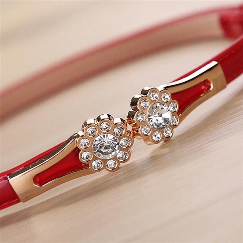 105cm Crystal Flowers On The Buckle Thin Belts For Women Dresses Modeling Belt Female Strap Cinture