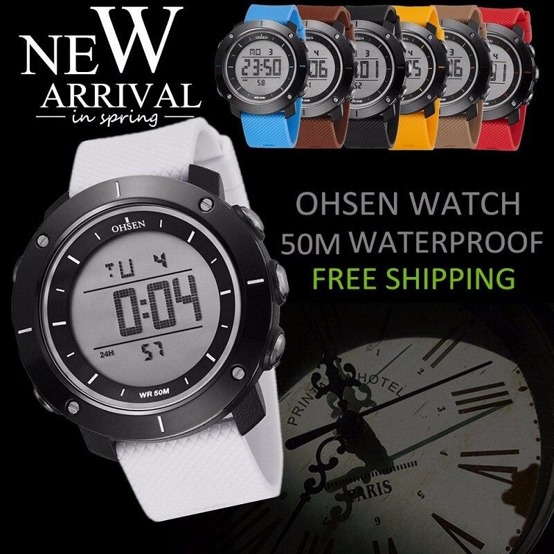 OHSEN Moda Wodoodporny Stoper Army LED Cyfrowy zegarek Człowiek - Męskie zegarki - Zdjęcie 2