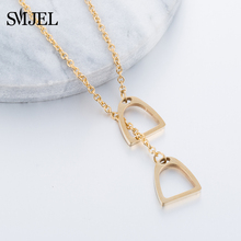 SMJEL New Lucky Horse Necklaces Stainless Steel Double Horse Hoof Stirrups Necklaces & Pendants for Women Accessories Gift N297
