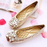 Large size 34 43 2019 Spring Women PU Leather British Single Shoes Comfort diamond Rhinestone Women Flats Causal Shoes S 270