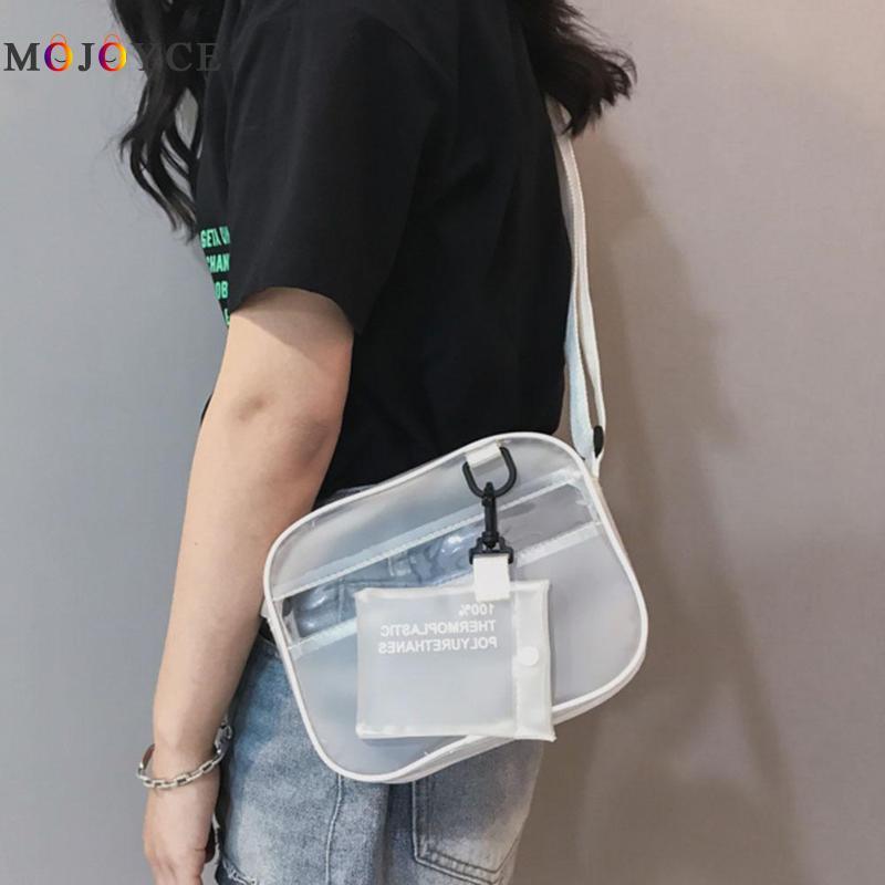 20 X 15 X 5cm Women Clear PVC Jelly Shoulder Bag Girl Transparent Adjustable Wide Strap Mini Zipper Messenger Bag Lady Handbag