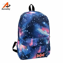 New 2016 Fashion Backpack Woman's Schools Bag Unisex Men's Bag Stars Universe Space Printing Canvas Female Backpacks 45