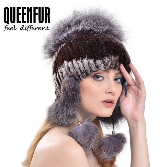 QUEENFUR Rex Rabbit Fur Hat Ear Protector Cap Knitted Bomer Hat With Big Fox Fur Pom Poms 2016 New Warm Thick Real Fur Headgear