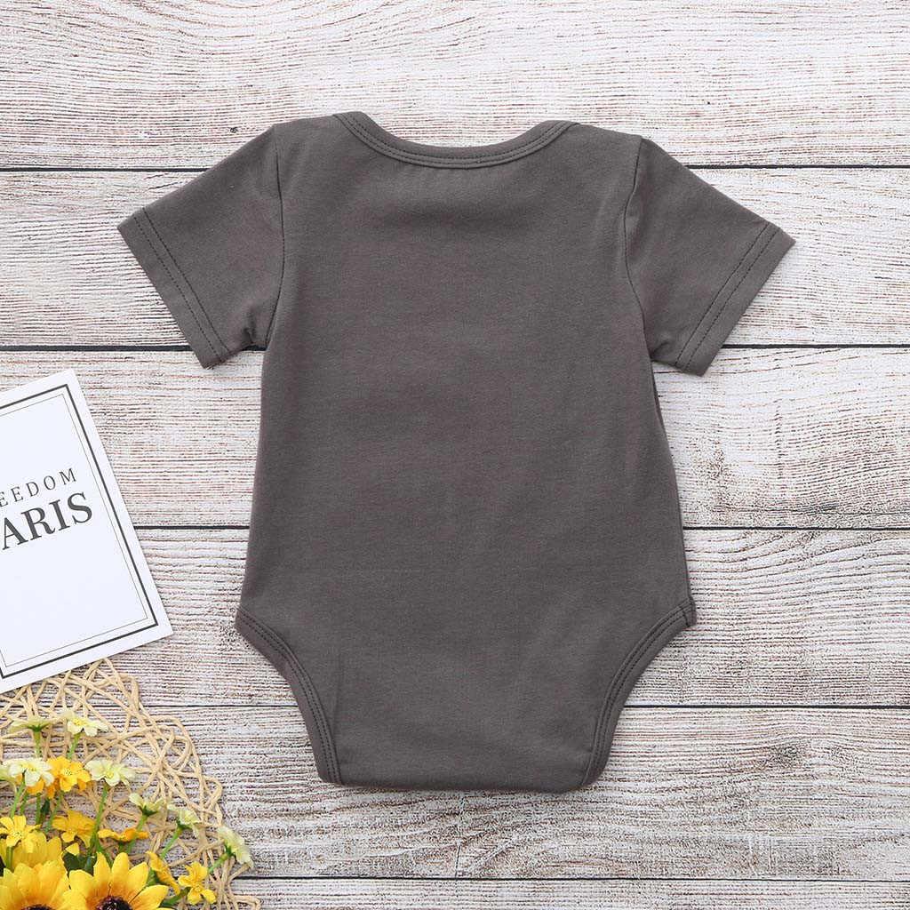 פעוט יילוד תינוק בנות בני מכתב מודפס חולצות בגד גוף Romper בגדי תינוקת ילד יילוד