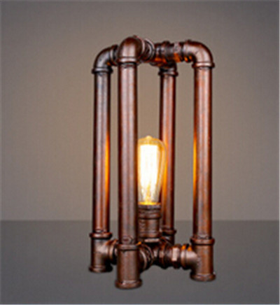 Industrial Country Vintage Table Lamp Copper Color Retro Water Pipe