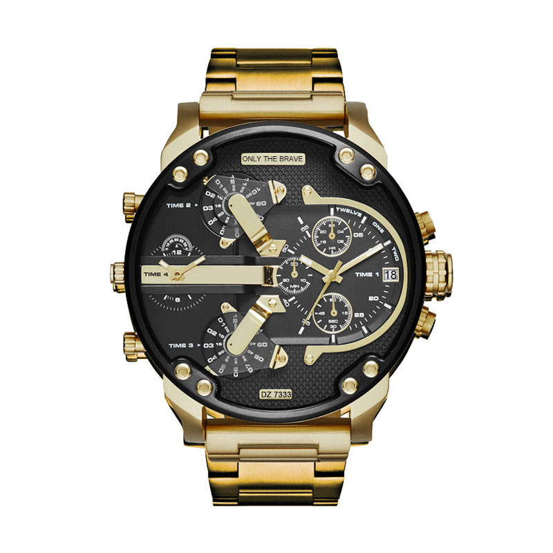 Sports Watch Dial Two-Time-Zone Luxury Brand Military Masculino Quartz-Clock Time-Steel-Belt