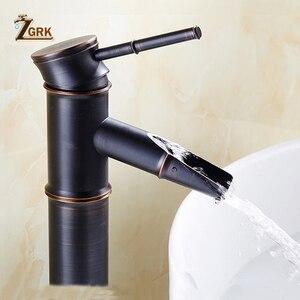 Image 5 - ZGRK שחור פליז מפל רחצה כיור כלי רז גבוה במבוק מים ברז רטרו אחת חור אגן ברזי