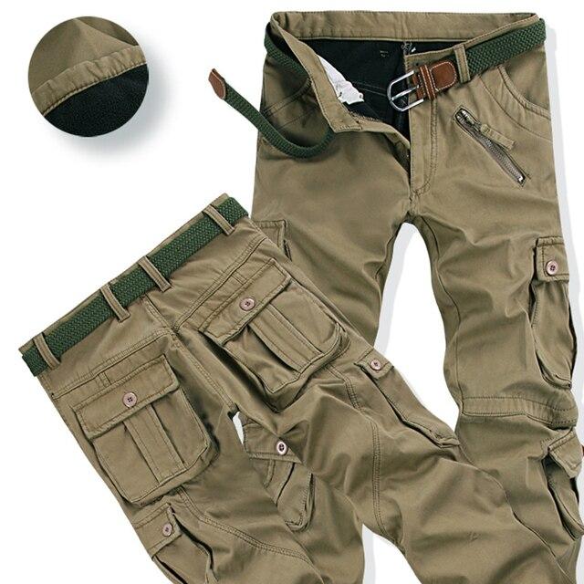 2019 Mens calças De Veludo quente para o inverno Moda Zíper Grosso Calças Cargo Casuais Outwear Bolsos Multi Calças Plus Size 40 11020