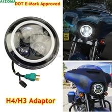 """Motocicletas E8 7 Universal """"Rodada LEVOU Farol H4/H3 Adaptador de Alta Farol Baixo Farol Dianteiro Para Honda Yamaha harley Dyna Softail"""