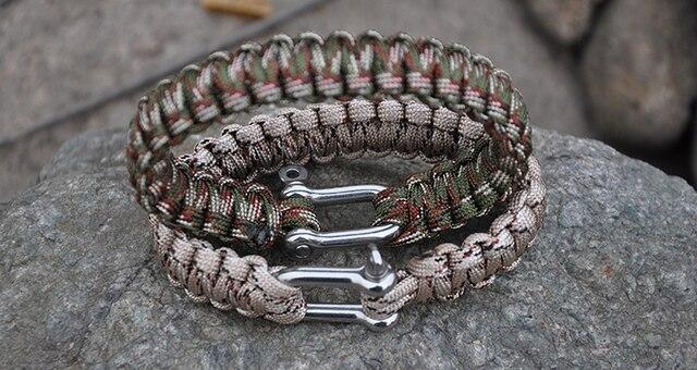 Мужской браслет плетеный из нержавеющей стали для кемпинга спорта