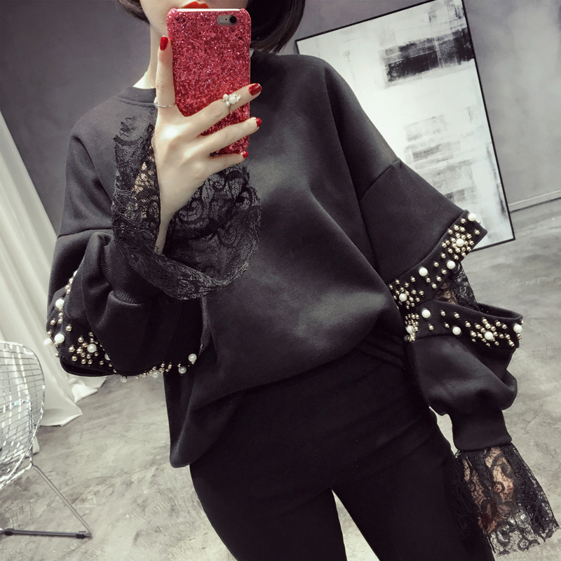 Black Women Pullovers Cut Down Sleeve Sequins Sweatshirt Loose Style Round Collar Extra Long Lace Sleeve Fashion Winter Clothing