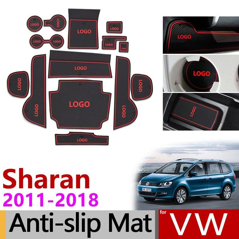 Anti-Slip Gate Slot Mat Rubber Coaster For Volkswagen Sharan 7N SEAT Alhambra 2011 - 2018 MK2 Accessories Sticker 2014 2016 2017