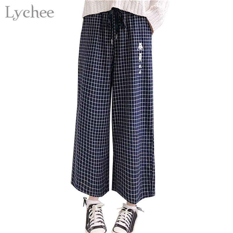 Lychee Japanese Plaid Letter Embroidery Women   Pants   Pocket Elastic Waist Drawstring Casual Loose Female Trousers   Wide     Leg     Pants