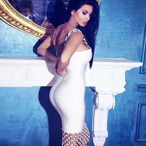 Image 2 - Kadın Vestidos bandaj elbise Rayon % 2017 yaz Hollow Out U boyun payetli Bodycon elbise siyah beyaz yemek seksi parti elbiseler