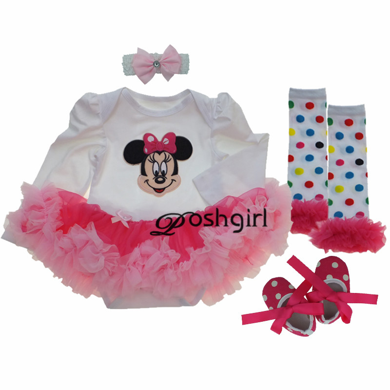 Baby Girl Tutu Dress Romper Set Photo Shoot Outfits Birthday Girls Clothing Sets Long Sleeve Cartoon Minnie New Born Baby Gifts 9 colors newborn baby girls handmade soft tulle tutu skirt head flower outfits photography props birthday photo shoot gift t1