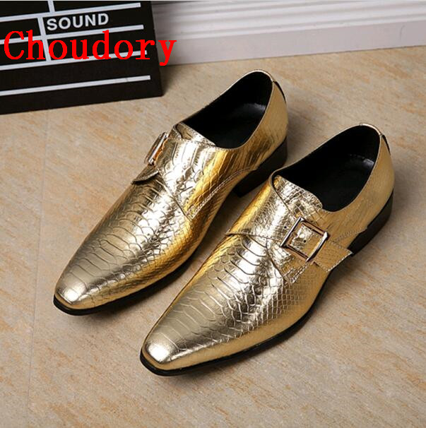 4a1a8826e95 Choudory Men Wedding Shoes Pointed Toe Mens Formal Shoes Slip On Patent  Leather Gold Dress Shoes Men