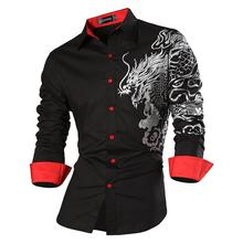 Sportrendy Men's Shirt Dress Casual Long Sleeve Slim Fit Fashion Dragon Stylish JZS041 Black цена 2017