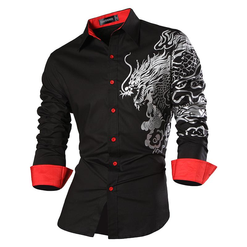 Sportrendy Men 39 s Shirt Dress Casual Long Sleeve Slim Fit Fashion Dragon Stylish JZS053 WineRed in Casual Shirts from Men 39 s Clothing