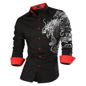 Image 2 - Sportrendy גברים של שמלת חולצה מקרית ארוך שרוול Slim Fit אופנה הדרקון אופנתי JZS044 כהה
