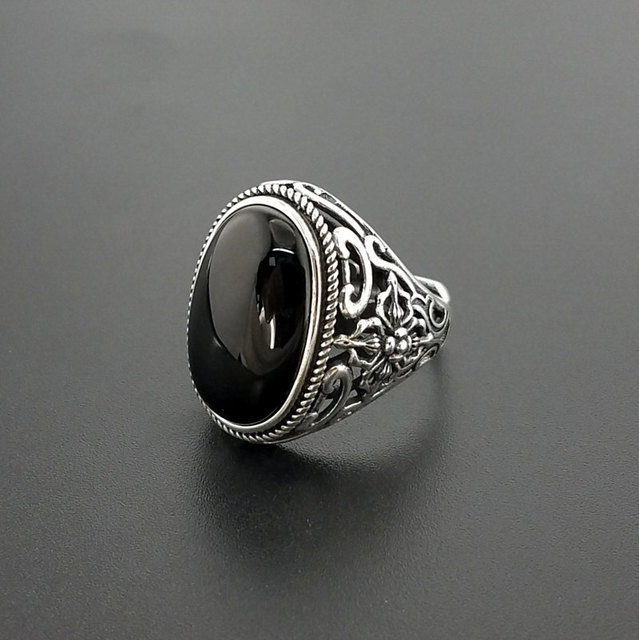 e84c1d0915820 Natural Oval Black Onyx Stone Solid Silver 925 Rings Men Wide Cuff Band  100% Real 925 Sterling Silver Jewelry Male Free Ring Box-in Rings from  Jewelry ...