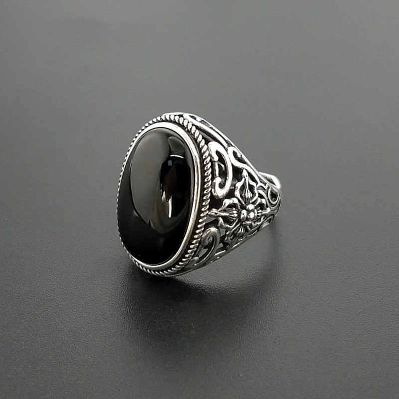 Natural Oval Black Onyx Stone Solid Silver 925 Rings Men Wide Cuff Band 100 Real 925
