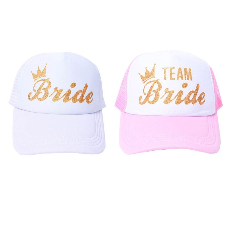 34590976853e9 Women Wedding Shower Cotton Mesh Baseball Cap Team Bride Gold Crown  Bachelorette Party Snapback Bridal Trucker