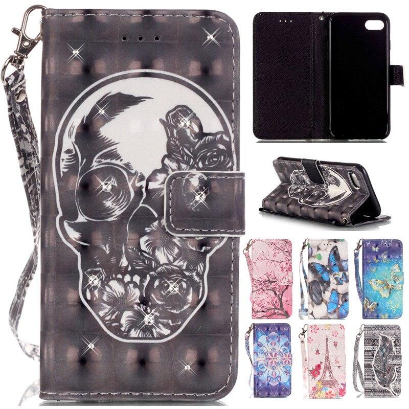 Pro Iphone7 7plus 3D roztomilý kreslený lebka Bling Diamond kožená peněženka řemínek Flip Funda pouzdro pro Apple Iphone 7 7 Plus zadní kryt