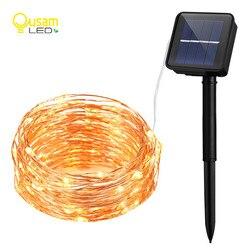 سلسلة إكليل الشمسية أضواء LED سلك نحاسي سلسلة المتعري الجنية أضواء مصباح مقاوم للماء مع الألواح الشمسية لتزيين الحدائق