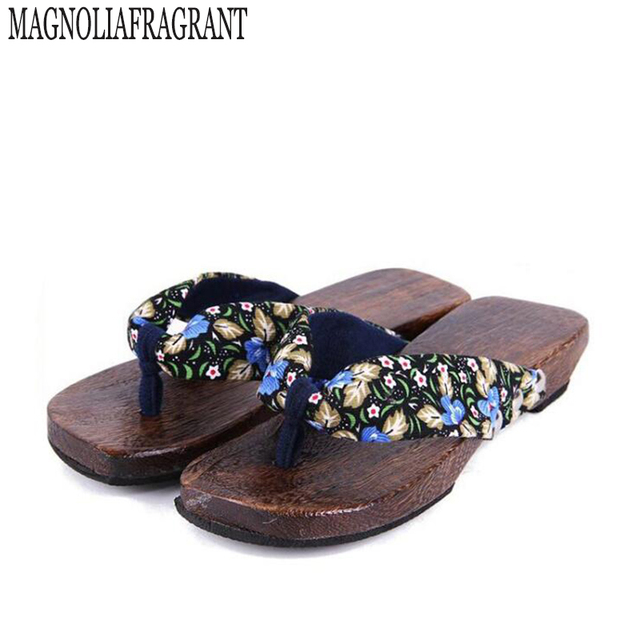2017 Summer Shoes women sandals Japanese Geta candlenut Clogs slippers shoes Flats Flip Flops sabots Shoe wholesale z549