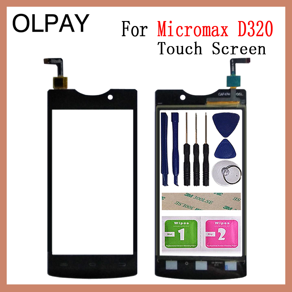 OLPAY 4.5'' New 100% Mobile Phone TouchScreen For Micromax D320 Touch Screen Digitizer Panel Glass Sensor Free Adhesive + Wipes