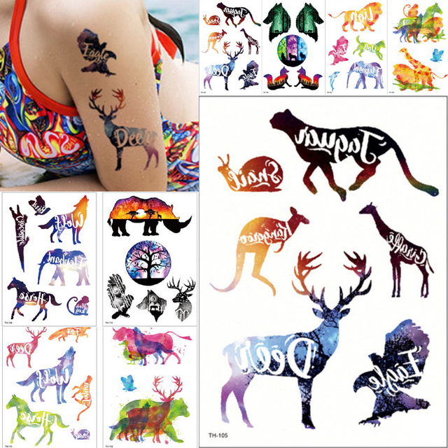ab4835109 New Body Art arm Temporary tattoo Gradient Ink cute wolf elephant horse  animals with letter colorful Tattoo Sticker cool summer