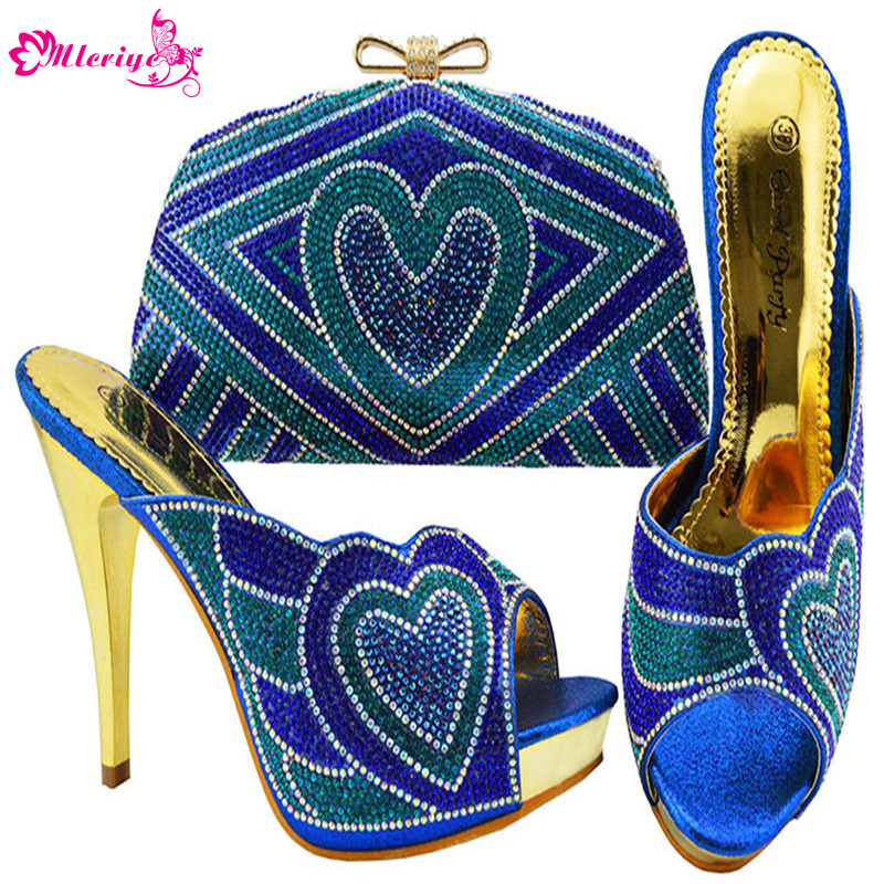 JZC005-r.blue Nigerian Wedding African Party Shoes And Bag Set Fashion Woman Heels Pumps Matching BagJZC005-r.blue Nigerian Wedding African Party Shoes And Bag Set Fashion Woman Heels Pumps Matching Bag