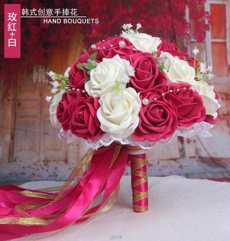 Купить с кэшбэком Woman Wedding Bouquet Peonies for Bridals Holder Flowers Handmade Rose Bridal Wedding Photography Props Bridal Flowers 2018