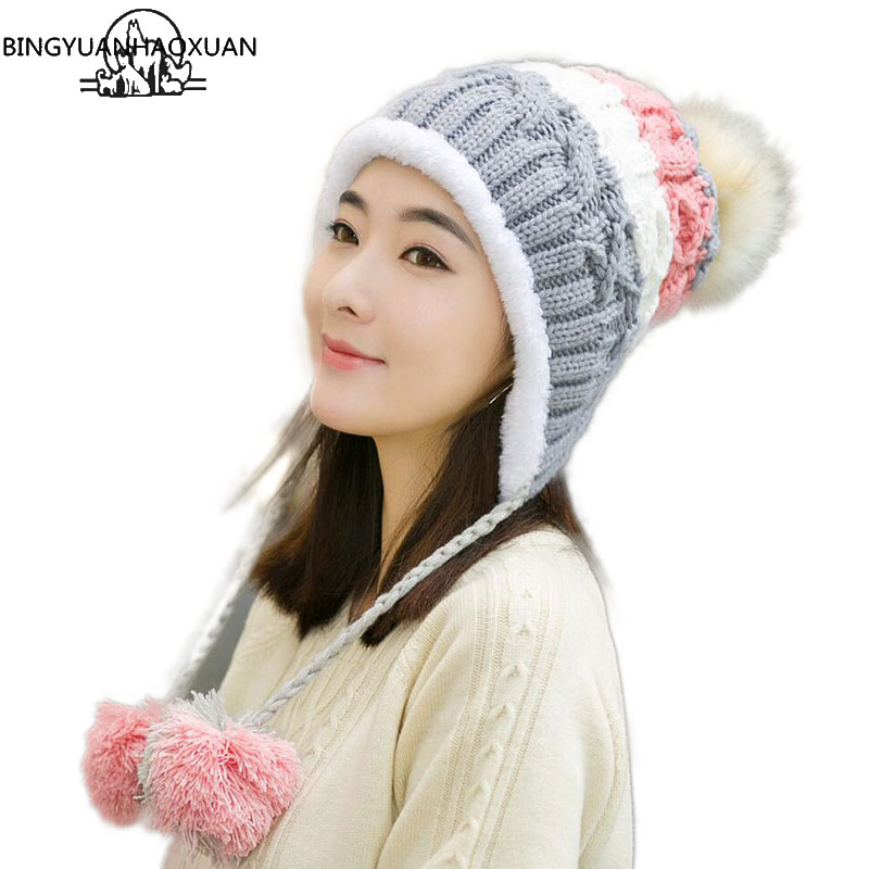 BINGYUANHAOXUAN Stitching Knitted Hat For Women Mixed Ball Hanging Ball Winter Caps For Girls Thick Cotton Hats Adult Autumn Hat