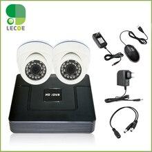 2CH DVR/HVR/NVR KIt Indoor 1200TVL Dome  Camera Video Security Kit CCTV DVR System