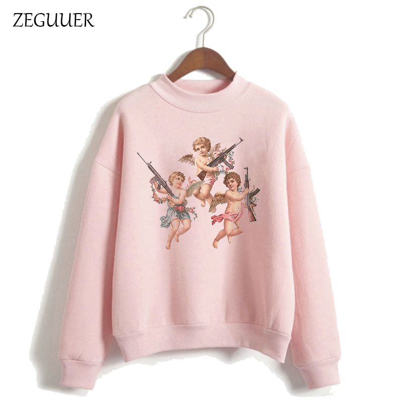 Cute Angel Tops YOU CANT SIT WITH US Hoodies Funny Aesthetic Angel Graphic Pink Hoodies Women Harajuku Sweatshirt Clothes