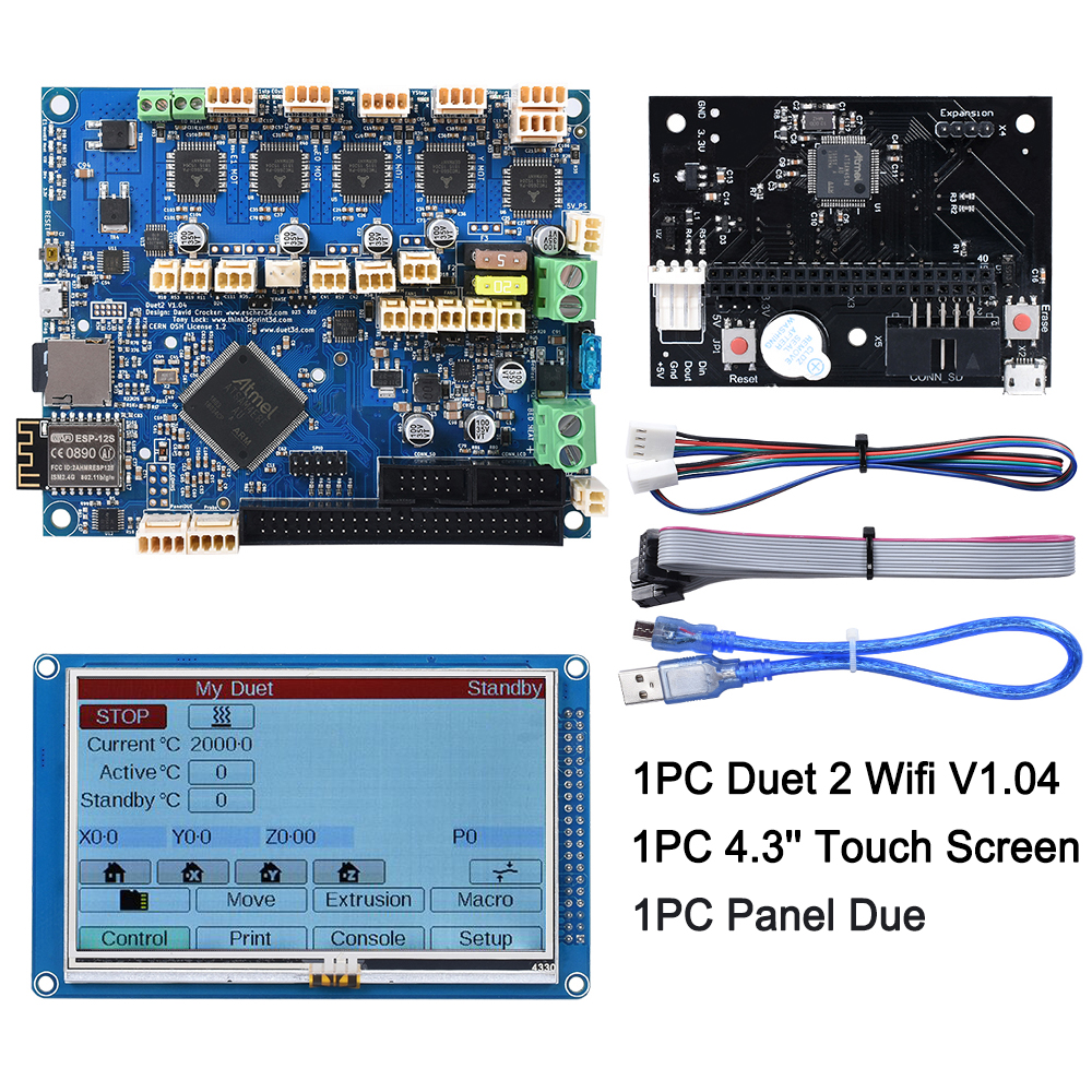 "Duet 2 Wifi V1.04 Cloned DuetWifi 32 Bit Board With 4.3"" PanelDue Touch Screen Controller Expansion Board 3D Printer Parts"