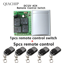 цена на 433Mhz Universal Wireless Remote Control Switch DC12V 4CH relay Receiver Module and 5pcs 4 channel RF Remote 433 Mhz Transmitter