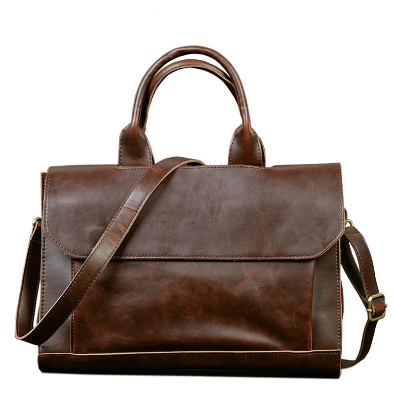 Retro Men's Briefcase Crazy Horse Leather Laptop Handbag Business Men Messenger Bags Leather Laptop Travel Bag Aktentas Bolsos