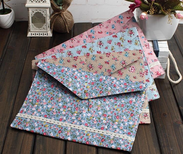 12pcs/lot New Vintage Dots Flower Lace Series A4 Documents File Bag File Folder Stationery Filing Production Wholesale