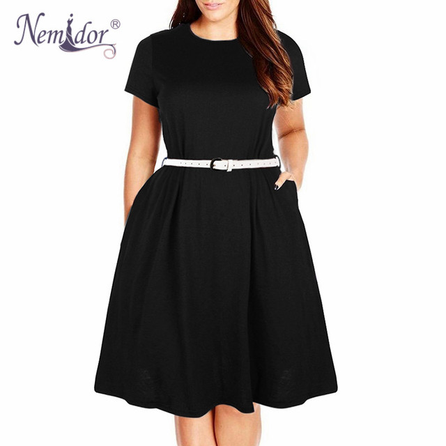 Women Summer Vintage Short Sleeve 50s Party Belted A-line Dress Stretchy Midi Plus Size 7XL 8XL With Pockets 2