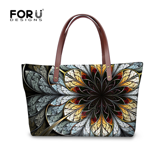 FORUDESIGNS Vintage Women Handbag Flower Printing Top-handle Large Bags For Ladies Casual High Quality Tote Purse Bola Feniminas