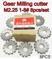 M2.25 Modulus PA20 graden NO.1-NO.8 8 stks/set HSS Versnelling frees Gear snijgereedschap Gratis verzending
