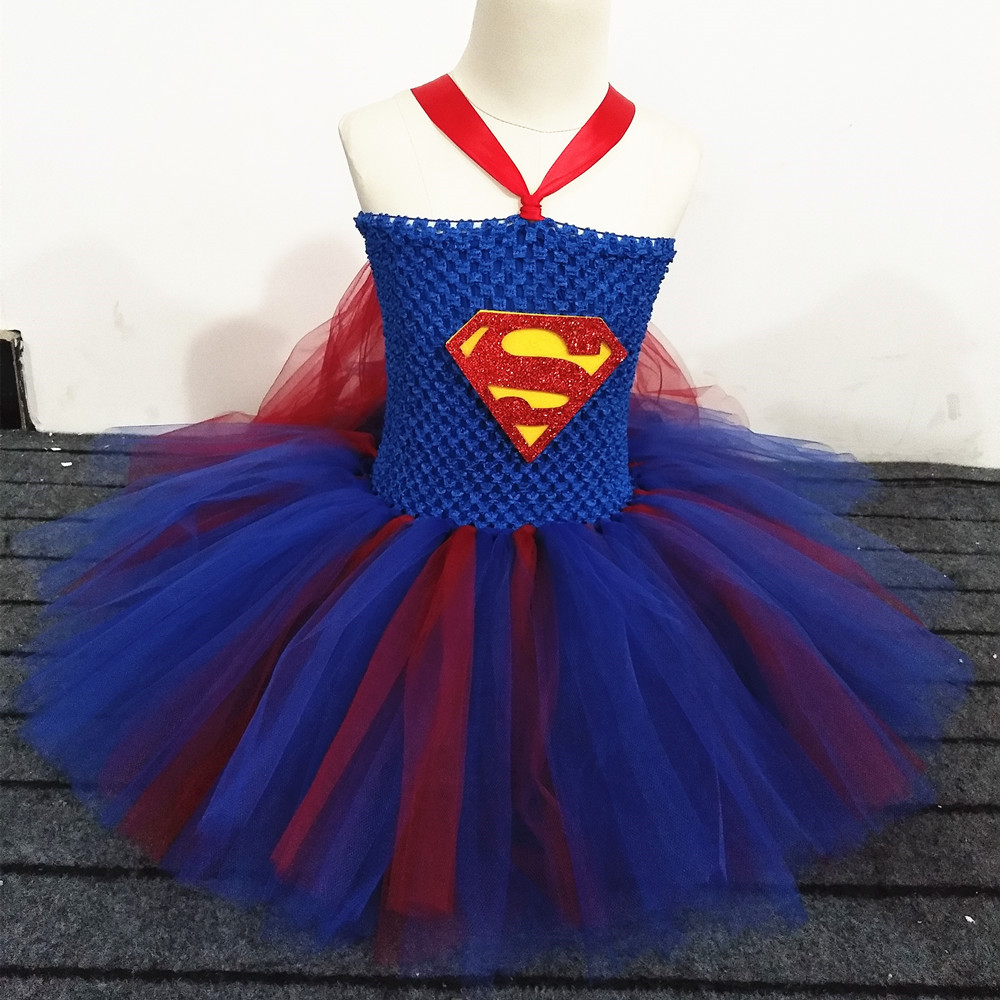 58f9d7fb1 Girls Superhero Tutu Dress Children Kids Birthday Party Dress Baby Girl  Christmas Halloween Cosplay Supergirl Costume With Cape-in Dresses from  Mother ...