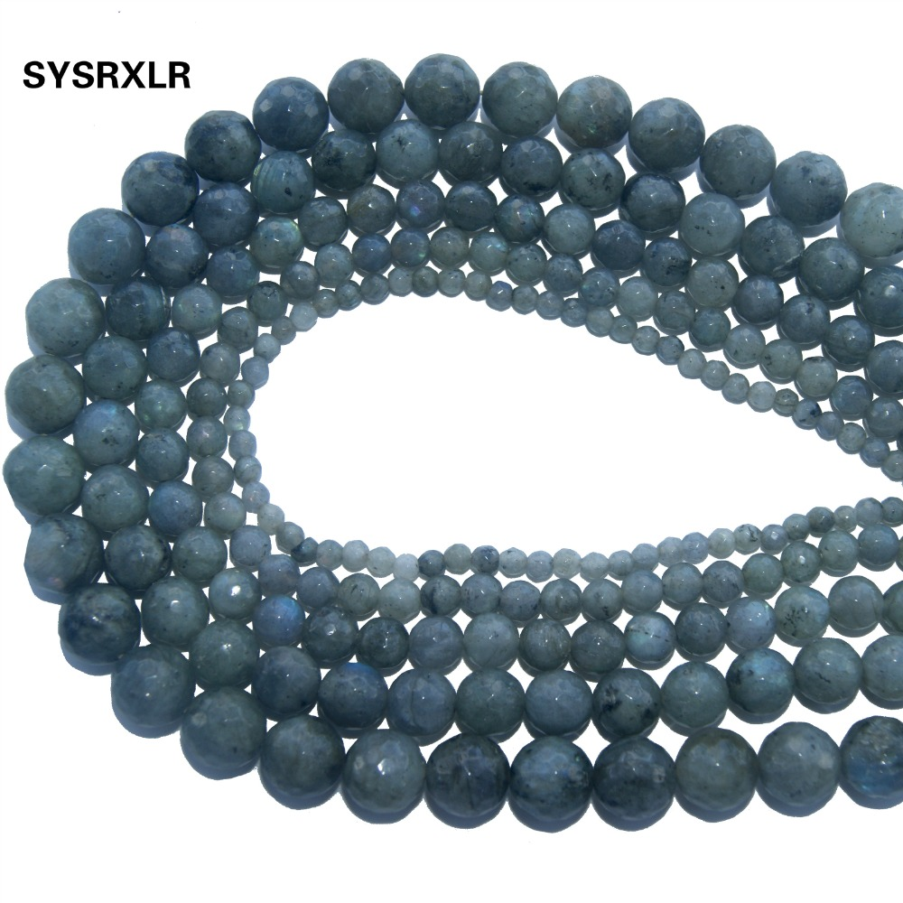 Wholesale Faceted Natural Stone Gray Labradorite Loose Beads For Jewelry Making DIY Bracelet Necklace 4 6 8 10 12 MM Strand in Beads from Jewelry Accessories